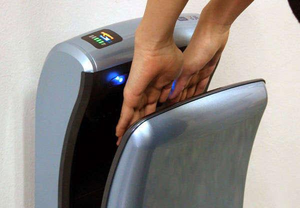 Сушилка для рук скоростная JangPoong Bio с вертикальной загрузкой, струйного типа, синяя установленная